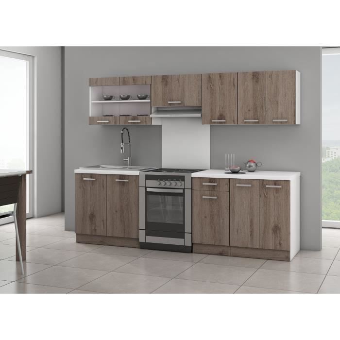 Cuisine compl te broceliande 240cm chene fonce achat for Cuisine complete moderne