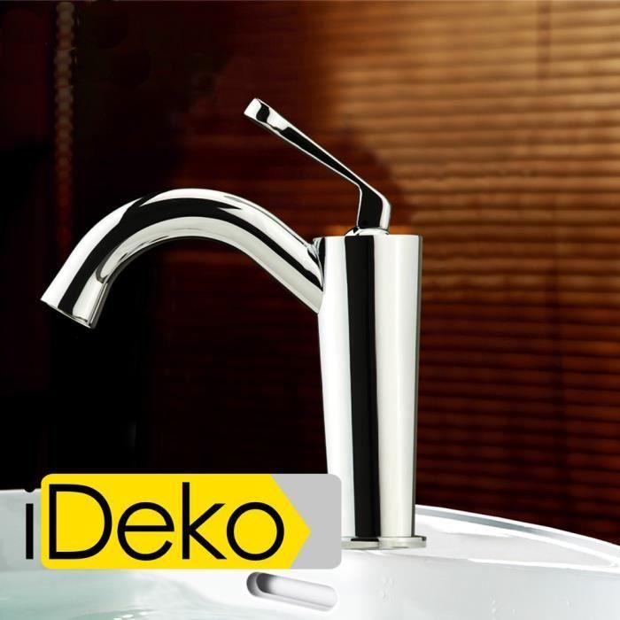 ideko robinet mitigeur lavabo salle de bain design moderne en laiton c ramiq. Black Bedroom Furniture Sets. Home Design Ideas