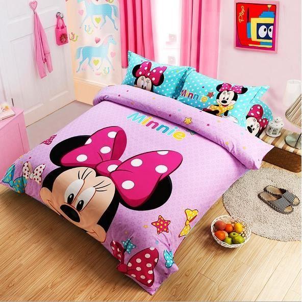 parure de lit minnie mignonne coton 200 230 cm 4 piece achat vente housse de couette cdiscount. Black Bedroom Furniture Sets. Home Design Ideas