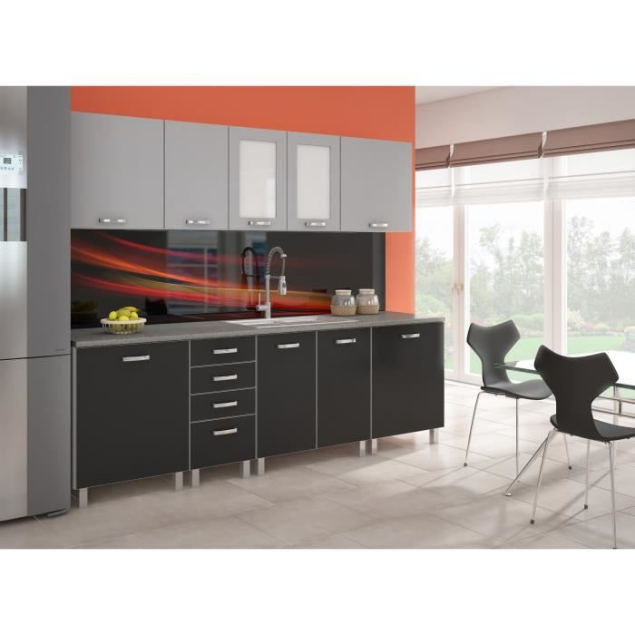 platinum cuisine compl te 2m40 aluminium et noir achat vente cuisine compl te cuisine. Black Bedroom Furniture Sets. Home Design Ideas