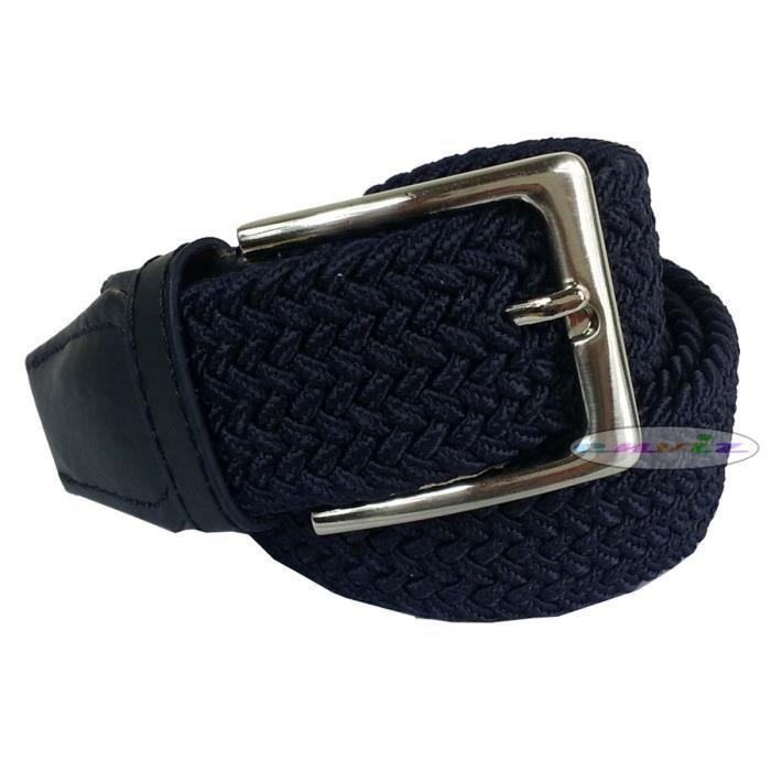 ceinture homme tress e lastique avec boucle en m tal bleu. Black Bedroom Furniture Sets. Home Design Ideas