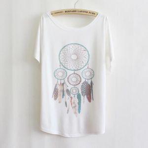 T-SHIRT T shirt Femme Blanc Ample en Coton Manche Chauve-s