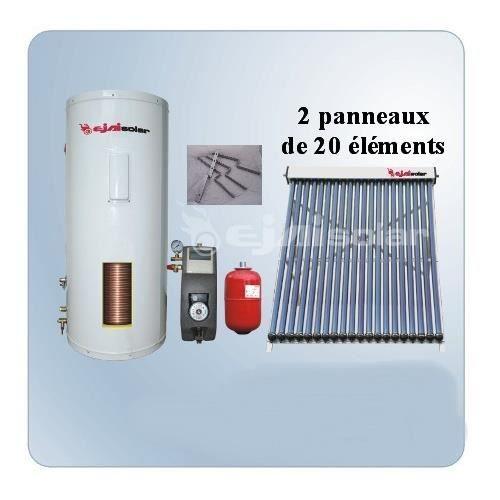 chauffe eau solaire kit 300 litres 2 panneaux 20 tubes. Black Bedroom Furniture Sets. Home Design Ideas