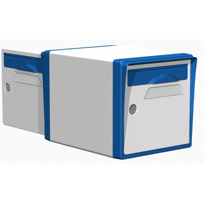 boite aux lettres r sine 2 portes blanc bleu 10 achat. Black Bedroom Furniture Sets. Home Design Ideas