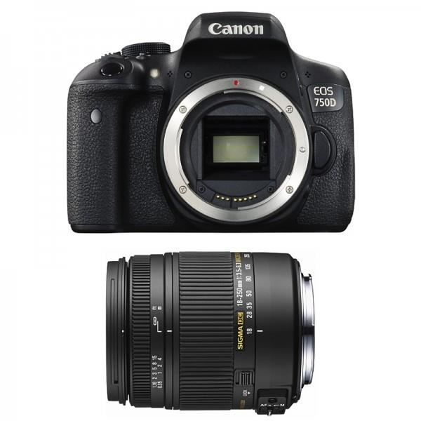 CANON EOS 750D + Objectif SIGMA 18 250mm F3,5 6,3 DC MACRO OS Achat