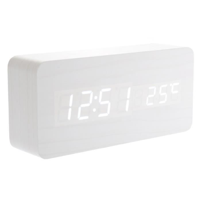013 12 usb aaa rectangle propuls forme de commande vocale blanc digital light led bureau. Black Bedroom Furniture Sets. Home Design Ideas