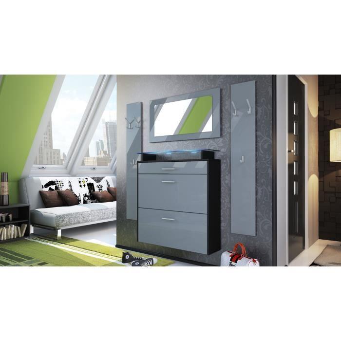ensemble d 39 entr e design meuble chaussures penderie miroir laqu noir et gris achat vente. Black Bedroom Furniture Sets. Home Design Ideas