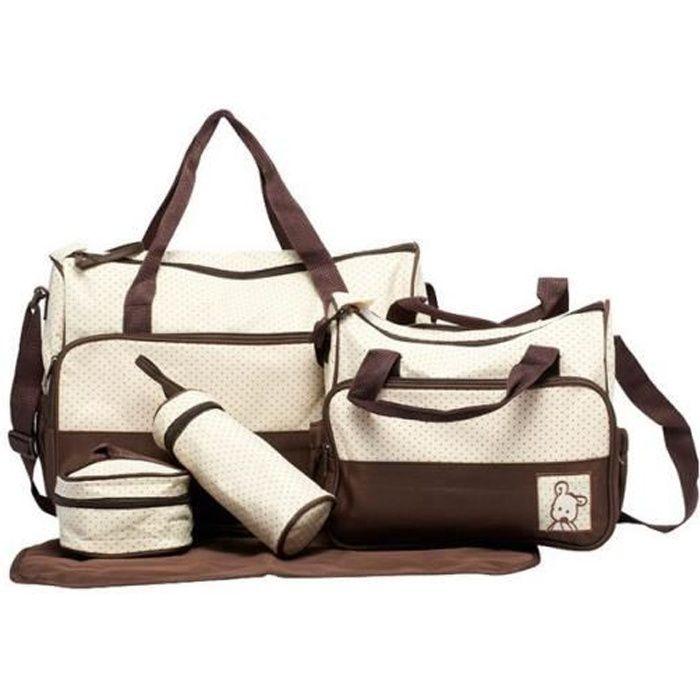 set de 5pcs sac main langer b b maman pour promenade voyage brun marron achat vente sac. Black Bedroom Furniture Sets. Home Design Ideas