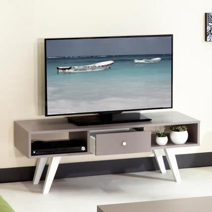 meuble tv cubique 2 niches 1 tiroir coloris taupe et blanc achat vente meuble tv meuble tv. Black Bedroom Furniture Sets. Home Design Ideas