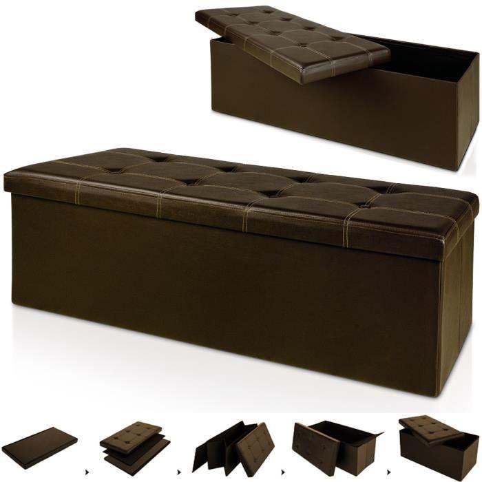 banc pliable avec rangement 114x40x40cm marron achat. Black Bedroom Furniture Sets. Home Design Ideas