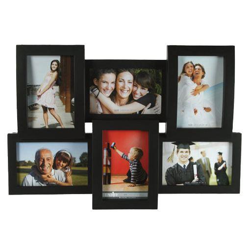 Cadre photo 3d pour 6 photos 15x10 cm noir achat for Cadre pour maison