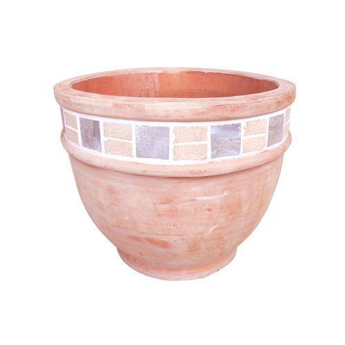 cache pot terracotta arrondi bas c ramique achat. Black Bedroom Furniture Sets. Home Design Ideas