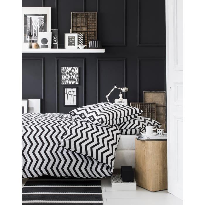 today parure de couette zig zag 100 coton 1 housse de. Black Bedroom Furniture Sets. Home Design Ideas
