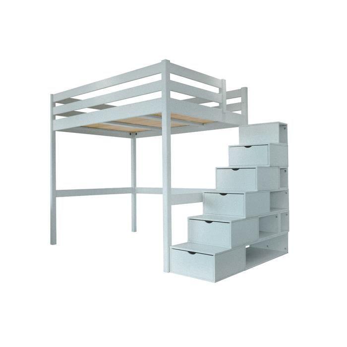 Lit mezzanine sylvia avec escalier cube bois achat vente lit mezzanine - Lit mezzanine bois 1 personne ...