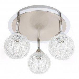 Luminaire plafonnier halog ne 3 boules acier aluminium for Luminaire plafonnier boule