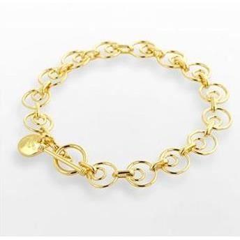 bracelet chaine anneau plaqu or 18 carats achat vente bracelet gourmette bracelet chaine. Black Bedroom Furniture Sets. Home Design Ideas