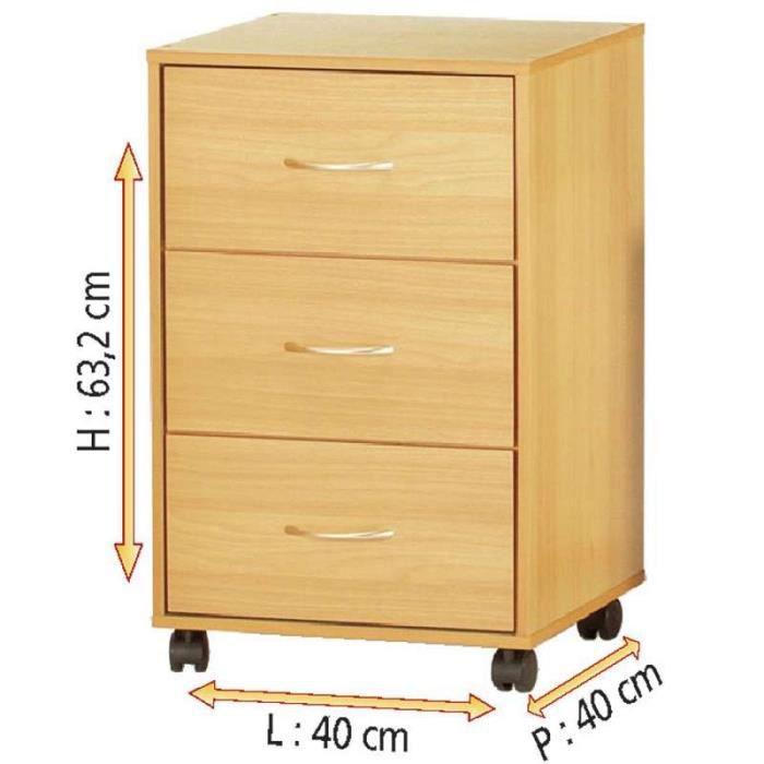 Bloc 3 tiroirs sur roulettes achat vente petit meuble for Petit meuble de rangement 3 tiroirs