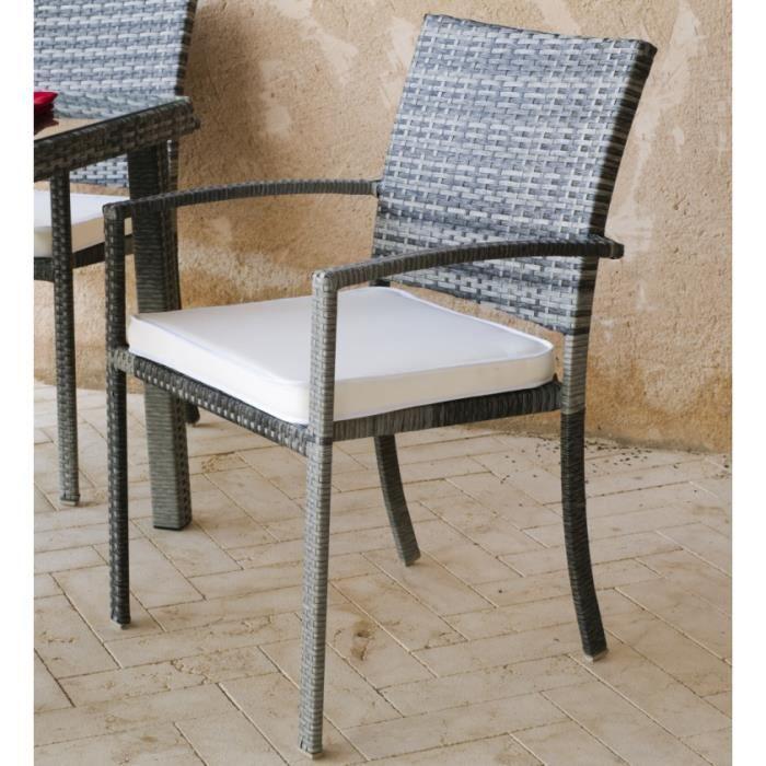Hevea lot de 2 fauteuils r sine tress e grise achat for Resine grise