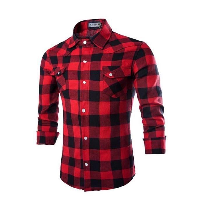 chemise a carreaux rouge et noir homme achat vente. Black Bedroom Furniture Sets. Home Design Ideas