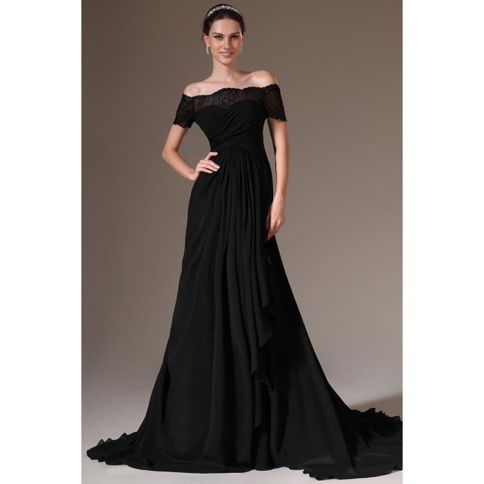 Robe de soir e longue tra ne moyenne hors de l noir for Hors des robes de mariage san francisco