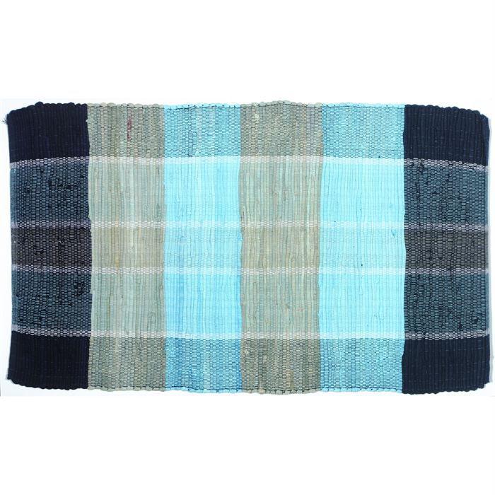 tapis cuisine madras coton bleu gris bleu 60x100cm achat