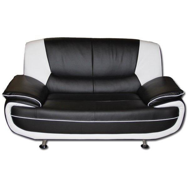 Canap 2 places noir et blanc palermo achat vente for Canape cuir blanc 2 places