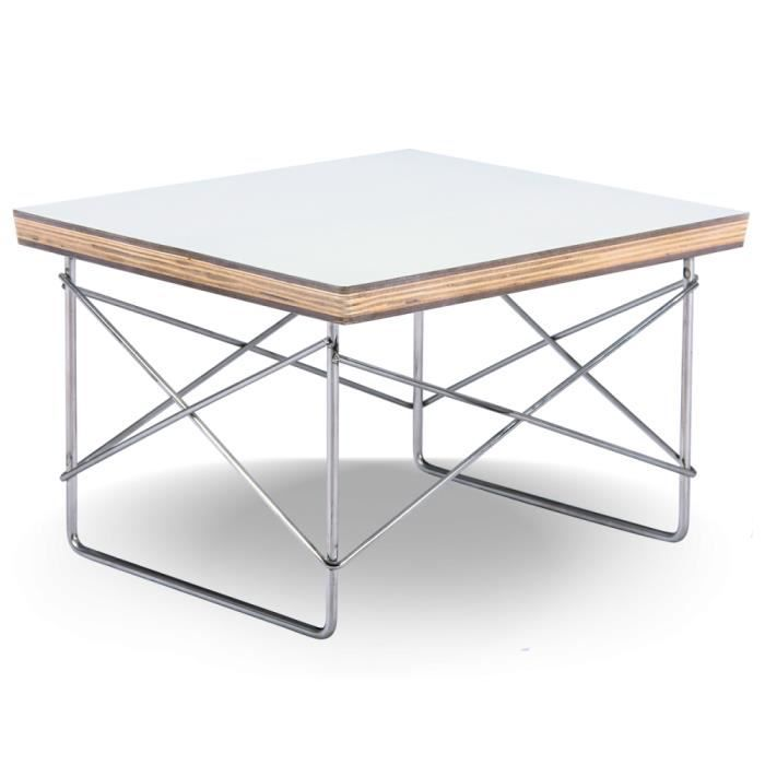 Table basse style wire ltr blanche achat vente table basse table basse st - Table basse blanche cdiscount ...