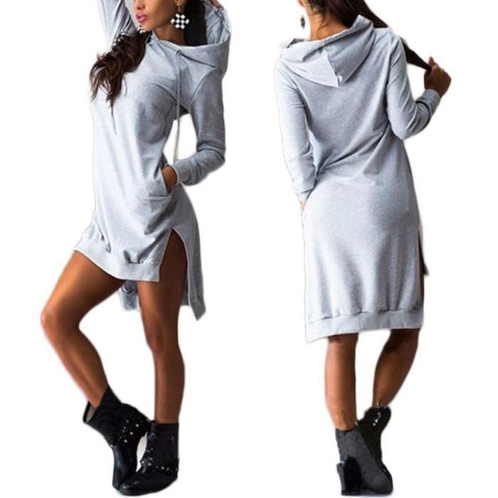 sweat sweatshirt long capuche femme chaud coton gris. Black Bedroom Furniture Sets. Home Design Ideas