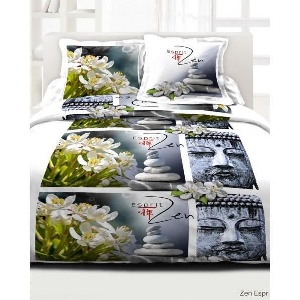 parure de couette 39 zen esprit 39 220x240 cm 100 achat vente parure de couette cdiscount. Black Bedroom Furniture Sets. Home Design Ideas