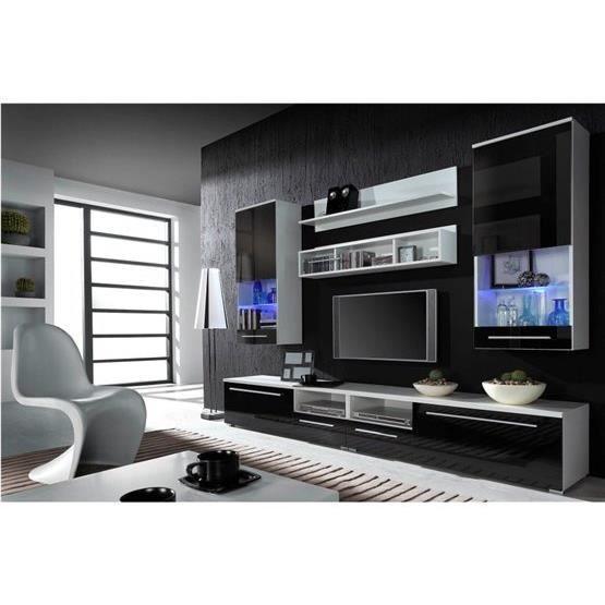 Meuble tv design park blanc et noir achat vente meuble for Meuble tv blanc noir
