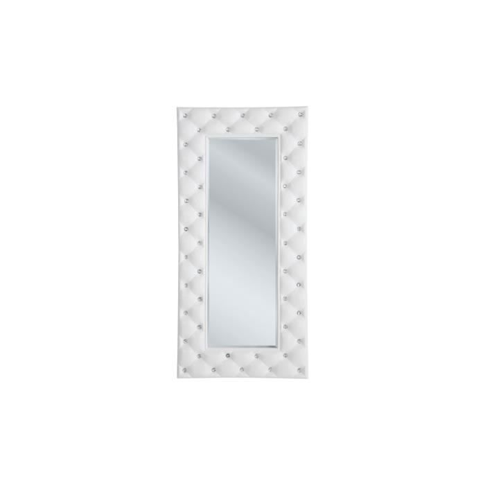 Miroir capitonn strass blanc 70x145 cm achat vente Miroir salon blanc