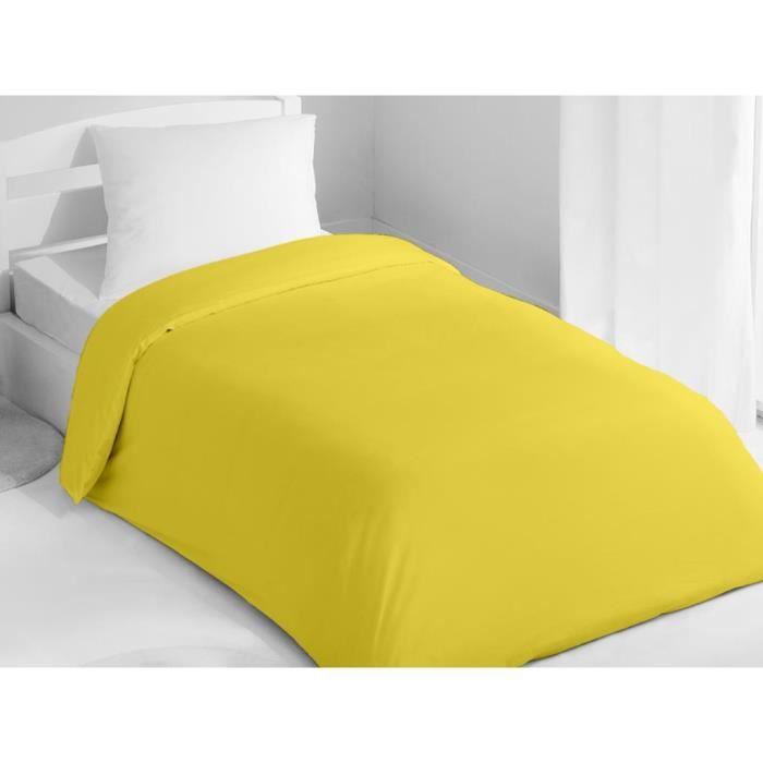 housse de couette 140x200 cm coton uni jaune achat vente housse de couette cdiscount. Black Bedroom Furniture Sets. Home Design Ideas