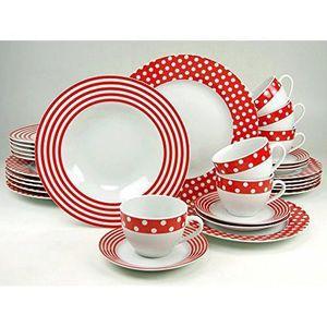 Creatable service de table en porcelaine rouge blanc for Service de table rouge