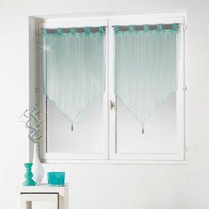paire de voilage bleu achat vente paire de voilage bleu pas cher cdiscount. Black Bedroom Furniture Sets. Home Design Ideas