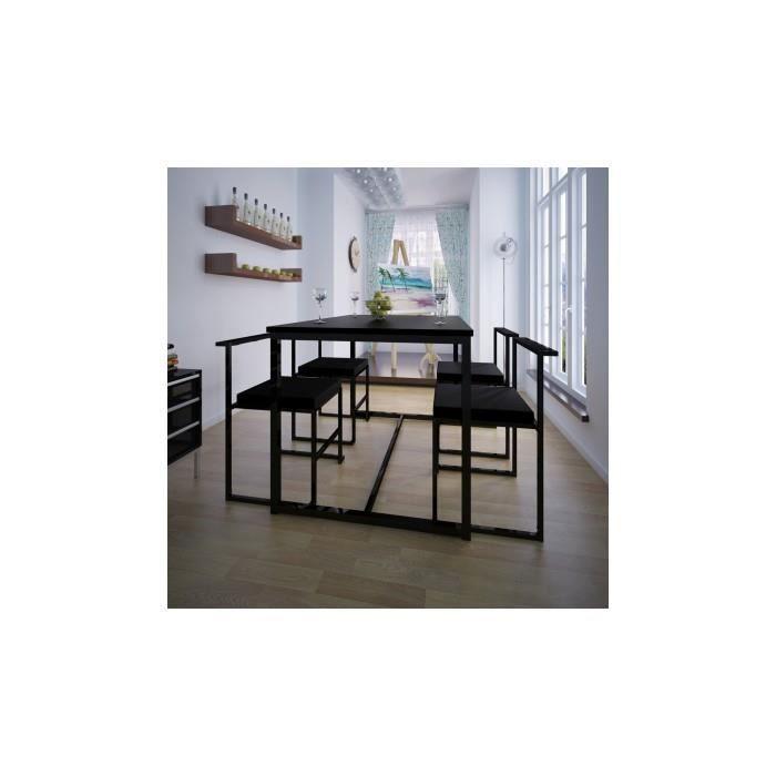 table de salle manger et 4 chaises noir mdf achat