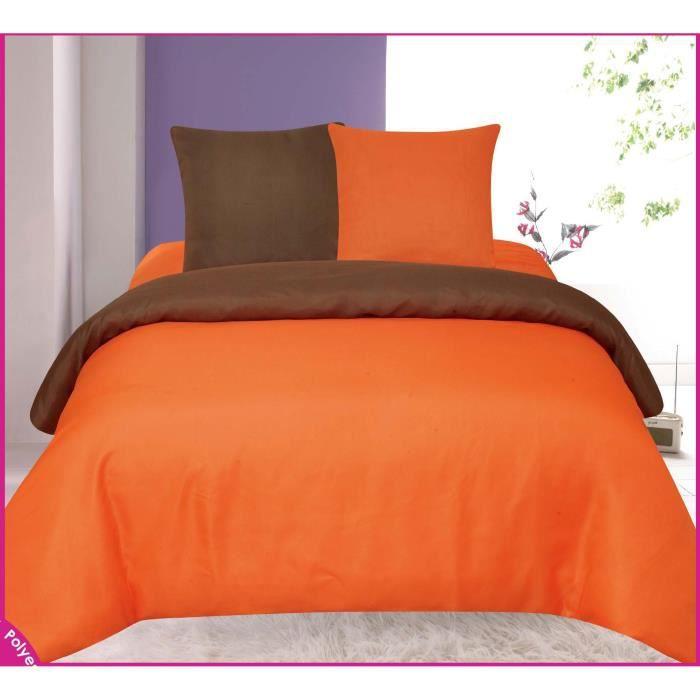 Housse de couette orange et chocolat bicolore tendre for Housse de couette 2 places