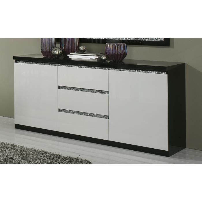 Buffet bahut noir et blanc laqu 3 portes 3 tiroirs design for Meuble 3 portes 2 tiroirs