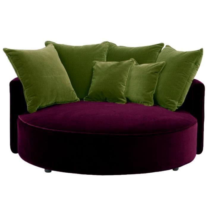 saturne fauteuil rond en velours aubergine 110 cm achat vente fauteuil violet soldes. Black Bedroom Furniture Sets. Home Design Ideas