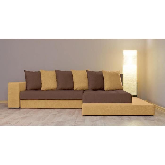 justhome orkus ii canap d 39 angle l x l 185 x 252 cm couleur jaune brun i achat vente. Black Bedroom Furniture Sets. Home Design Ideas