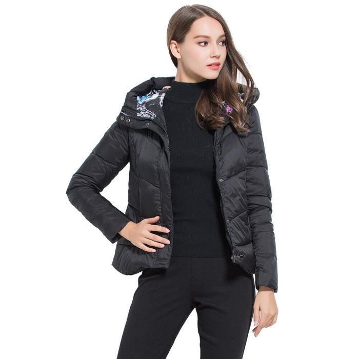 mode femme doudoune avec capuche v tement chaud manteau d 39 hiver veste court noir achat vente. Black Bedroom Furniture Sets. Home Design Ideas