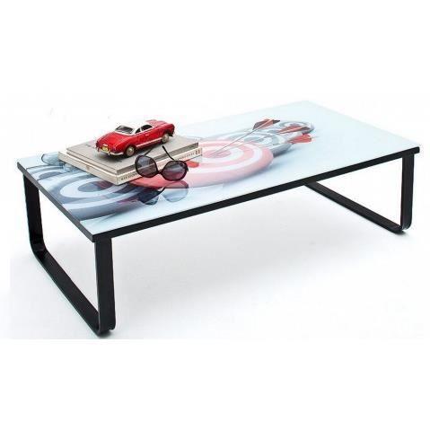 Table basse design noire avec plateau en verre imprime - Table basse avec plateau en verre ...