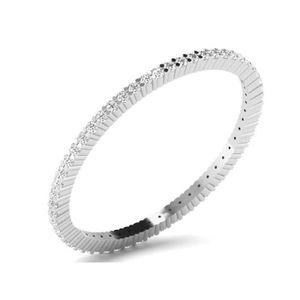 BAGUE - ANNEAU Or Blanc 9 ct Bague Diamant