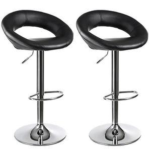 Songmics lot de 2 tabourets de bar noir chaise fauteuil for Chaise de bar hauteur 60 cm