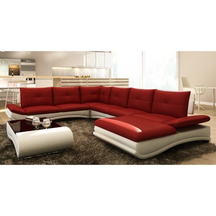 canap d 39 angle design panoramique rouge et blanc m achat vente canap sofa divan les. Black Bedroom Furniture Sets. Home Design Ideas