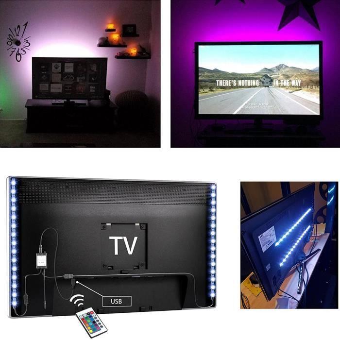 bias clairage pour hdtv usb powered tv led lights strip avec t l commande rgb multi couleur. Black Bedroom Furniture Sets. Home Design Ideas
