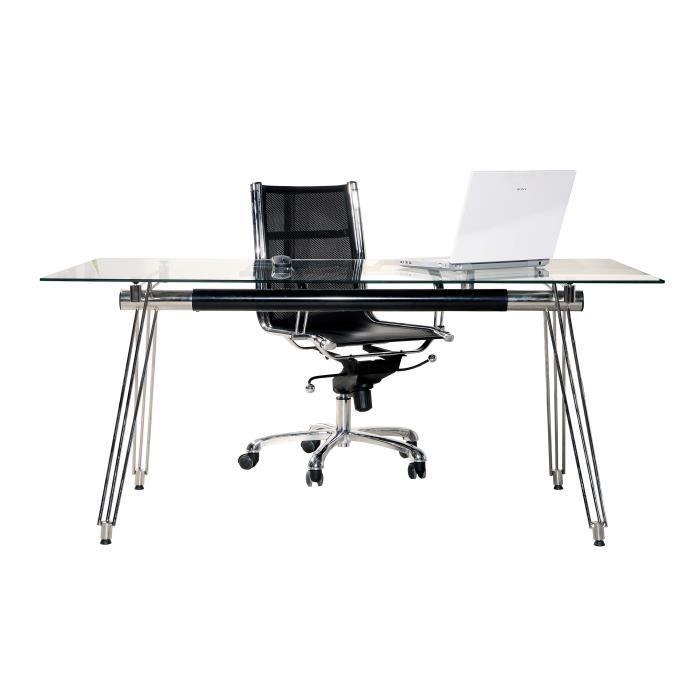 Bureau design en verre 160x80 cm achat vente bureau for Meuble bureau en verre