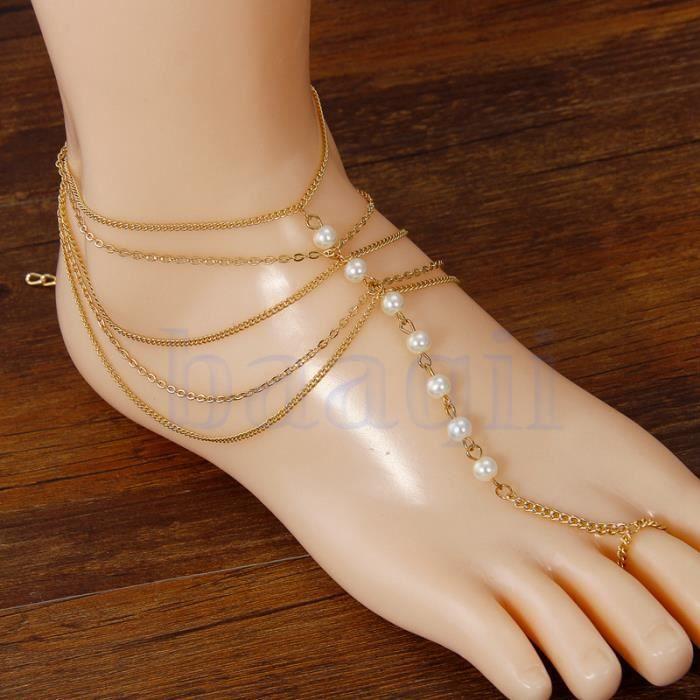 Perle multi gland orteil anneau bracelet cha ne lien pied cheville bracelet achat vente - Anneau de gland ...