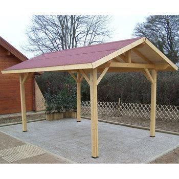 Auvent avec toit deux pentes 19 m achat vente carport for Maison avec auvent