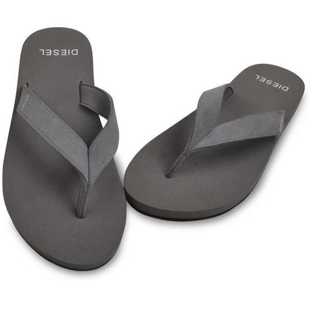 homme sports cuir beach sandales flip flop chaussures gris gris tu achat vente sandale nu. Black Bedroom Furniture Sets. Home Design Ideas