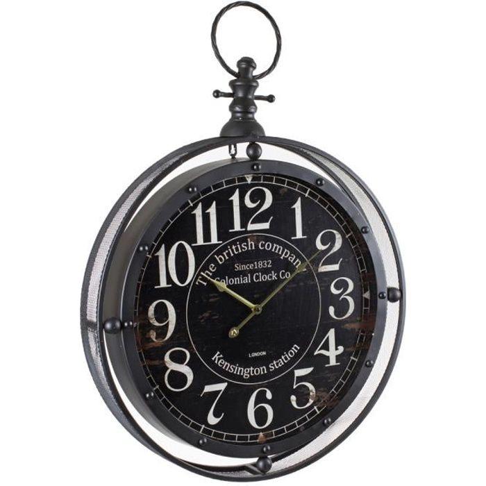 Horloge m tal gousset noir grande taille diam achat for Horloge murale grande taille